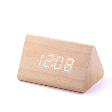 Temp+Date+Time Wooden Alarm Clock Sounds Control White Led Electronic Alarm Clock Night Glowing Reloj Despertador