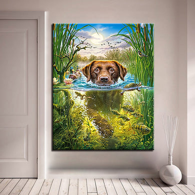 Oil Painting By Numbers DIY Hand Painted Swimming Dog Canvas Wall Art Coloring Animals Fish Pictures Drawing Home Decor Gifts