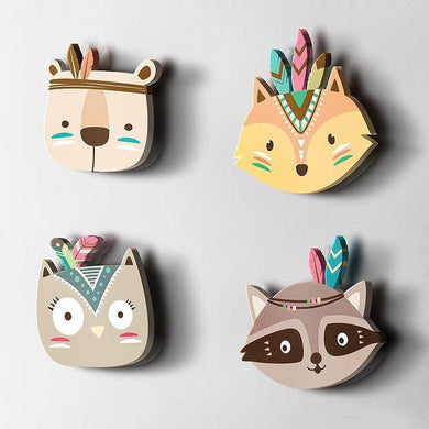 Eva2king Cartoon Wooden Animal Room Decoration Wall Mount Toys Baby Girl Room Decor Lovely Fox Baby Nursery Toys For Children