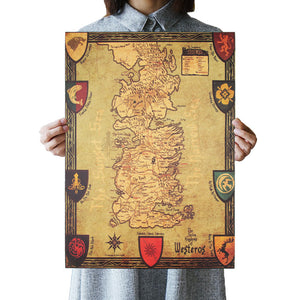 Game of Thrones Westeros Map Retro Kraft Paper Poster Interior Bar Cafe Decorative Painting Wall Sticker 42X30cm