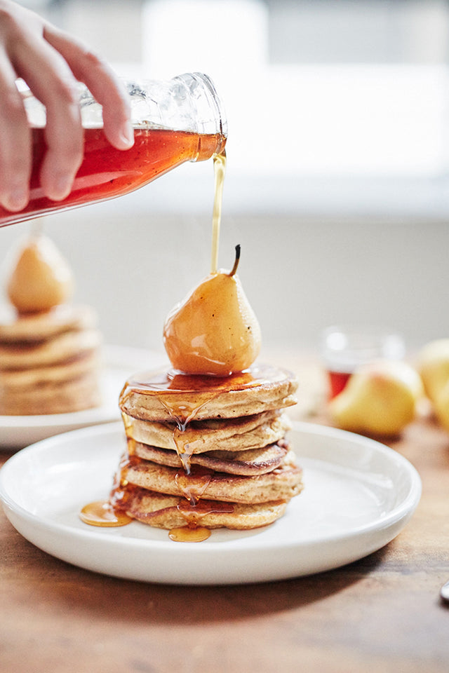 Pancakes with Chai Poached Pears