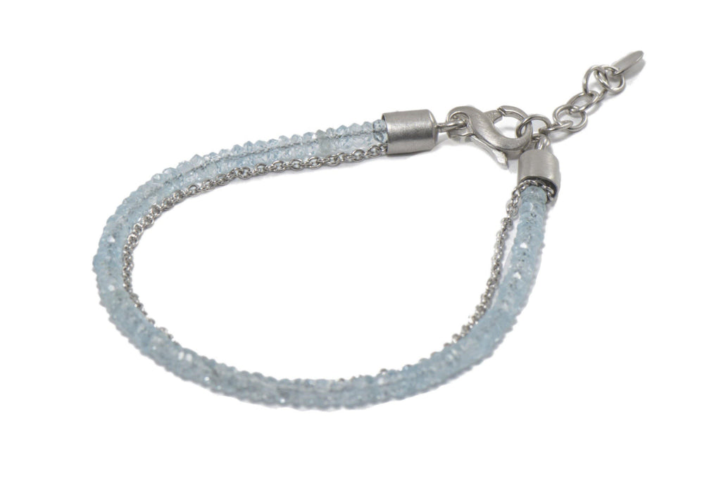 3MM FACETED BRACELET WITH BLUE TOPAZ & CHAIN 3 STRAND RHODIUM PLATED SILVER