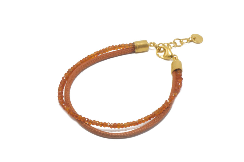 2MM FACETED CARNELIAN & ORANGE LEATHER 2 STRAND(B051L-07)