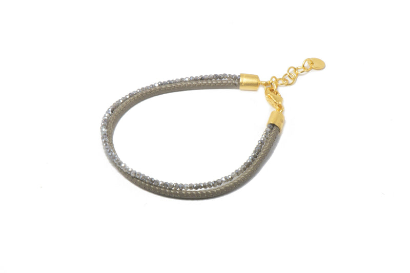 B051L-09M1 BRACELET- 2MM FACETED LABRADORITE & GREY LEATHER 2 STRAND FAIR TRADE 24K GOLD VERMEIL