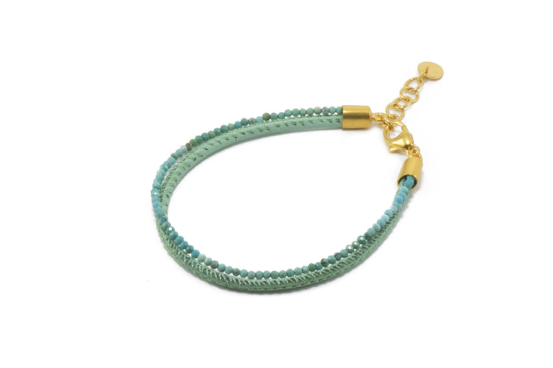 B051L-18 BRACELET- 2MM FACETED TURQUOISE & LEATHER 2 STRAND FAIR TRADE 24K GOLD VERMEIL
