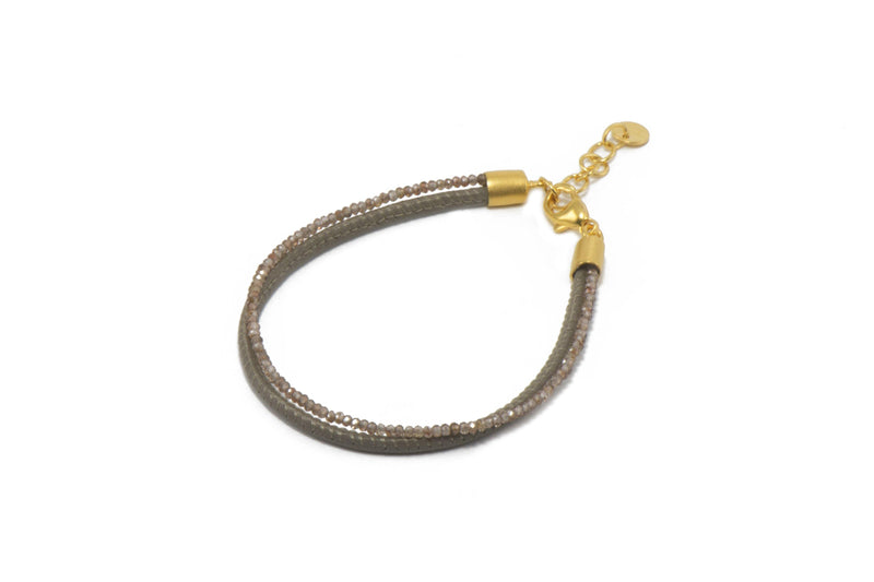 B051L-30 BRACELET- FACETED ZIRCON & GREY LEATHER 2 STRAND FAIR TRADE 24K GOLD VERMEIL