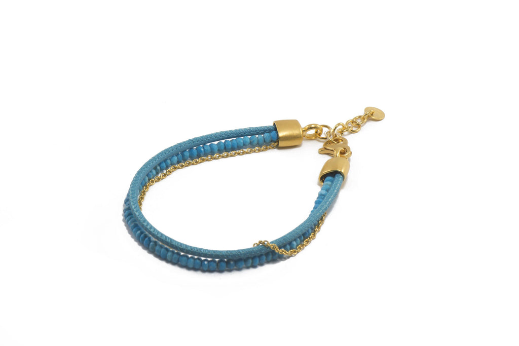 3MM FACETED TURQUOISE, TURQUOISE LEATHER & CHAIN(B09-1800)