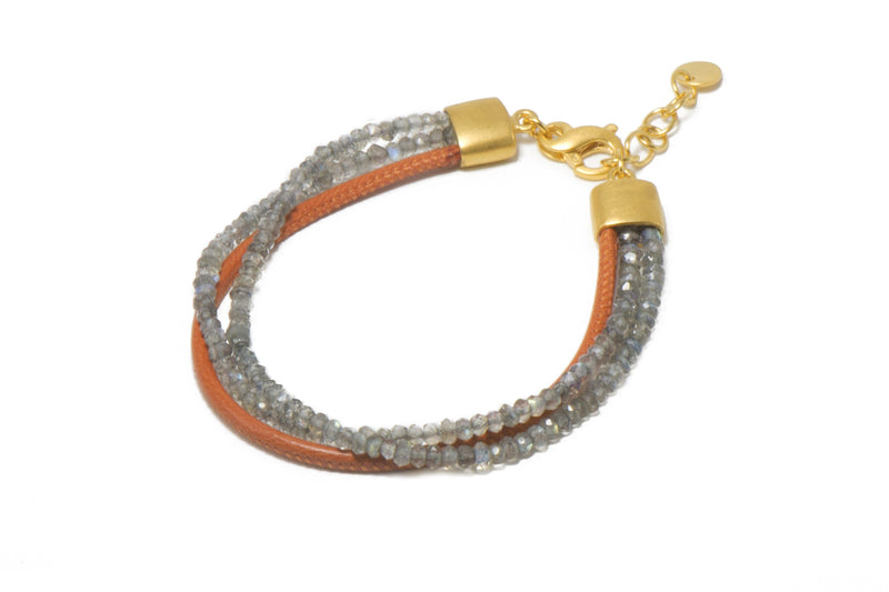 THREE STRAND BRACELET WITH FACETED LABRADORITE AND ORANGE LEATHER  FAIR TRADE 24K GOLD VERMEIL - Joyla Jewelry