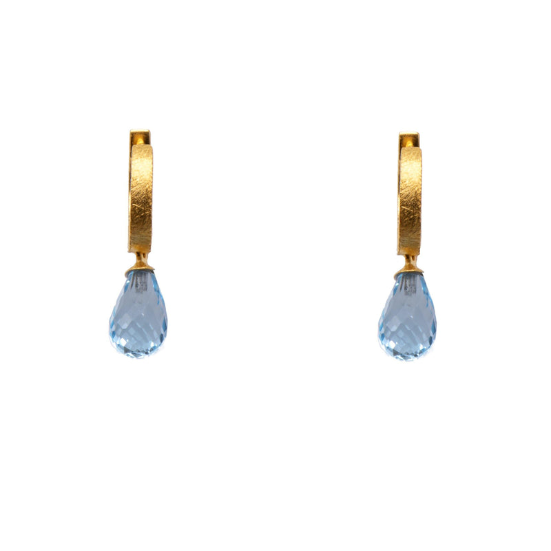 C01-0020 EARRINGS- HUGGIE FACETED SKY BLUE TOPAZ DROP FAIR TRADE 24K GOLD VERMEIL