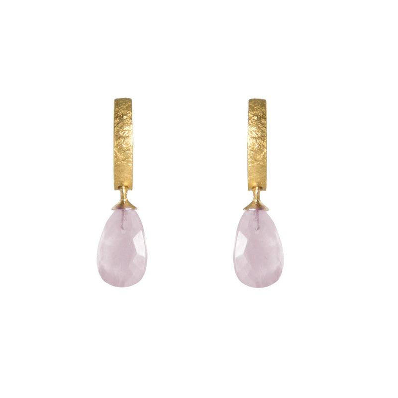 C01-050 EARRINGS- HUGGIE FACETED ROSE QUARTZ DROP FAIR TRADE 24K GOLD VERMEIL