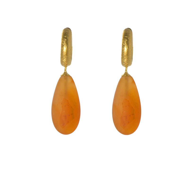 C01-074 EARRINGS- HUGGIE MATTE CARNELIAN DROP FAIR TRADE 24K GOLD VERMEIL