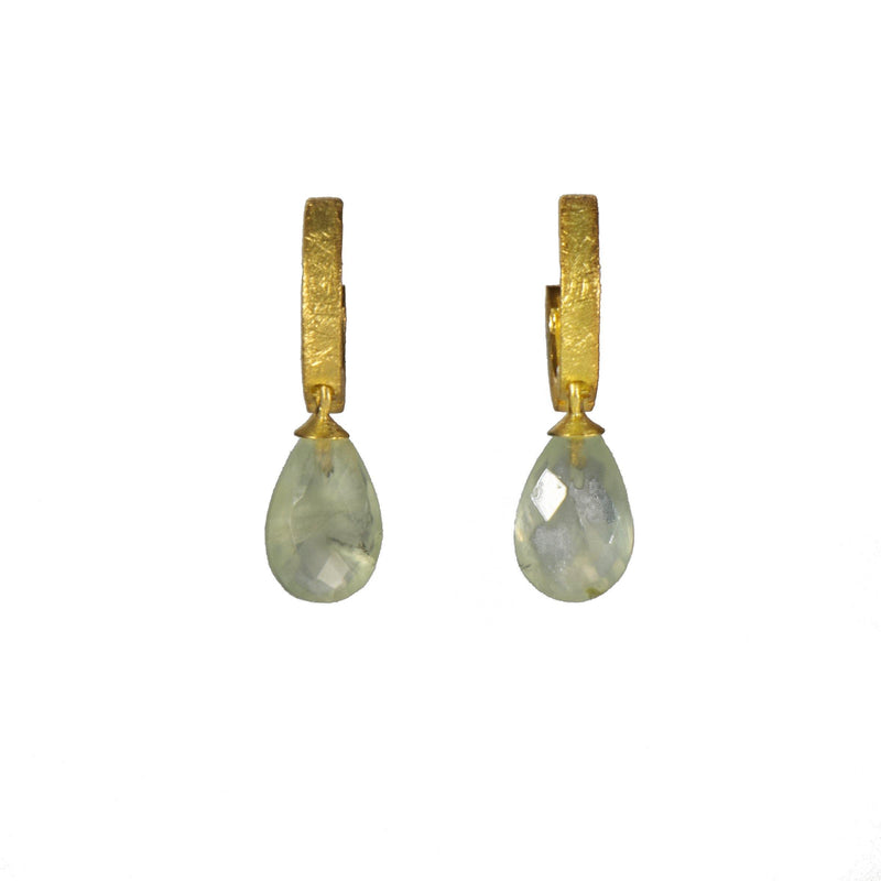 HUGGIE HOOP EARRINGS WITH A FACETED PREHNITE DROP FAIR TRADE 24K GOLD VERMEIL