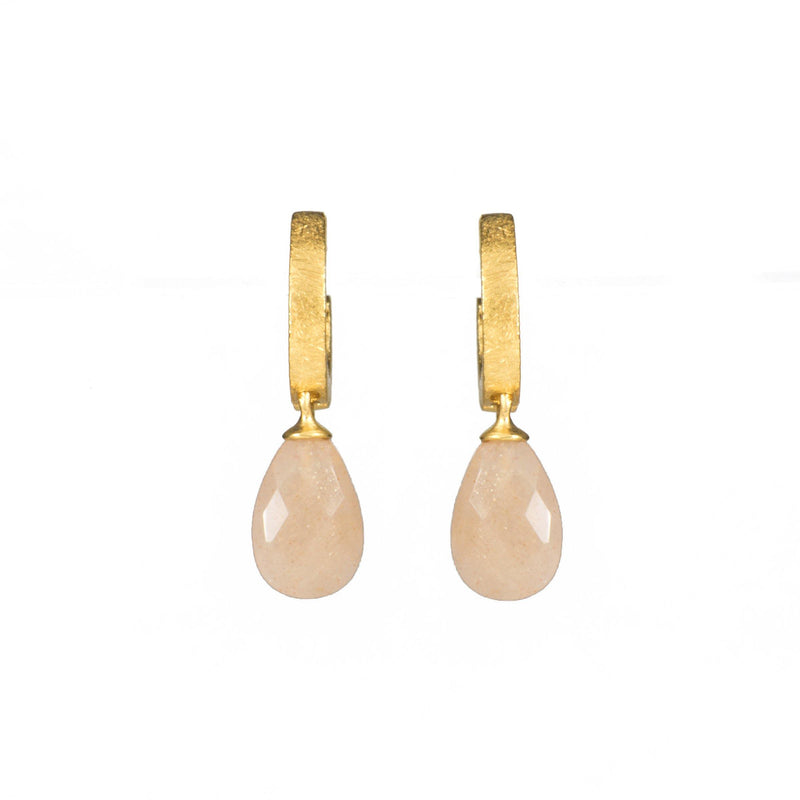 C01-150 EARRINGS- HUGGIE FACETED PEACH MOONSTONE DROP FAIR TRADE 24K GOLD VERMEIL