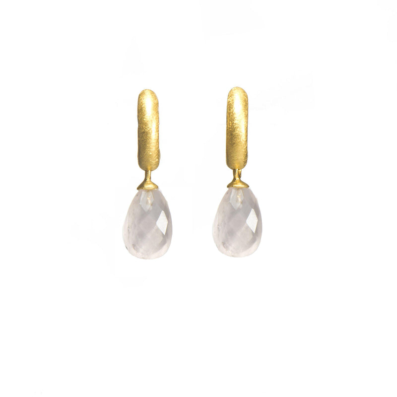 C03-050 EARRINGS- HUGGIE FACETED ROSE QUARTZ DROP 24K GOLD VERMEIL