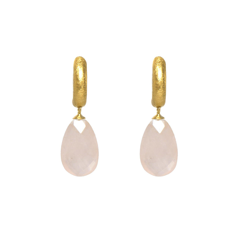 C03-051 EARRINGS- HUGGIE FACETED ROSE QUARTZ DROP FAIR TRADE 24K GOLD VERMEIL