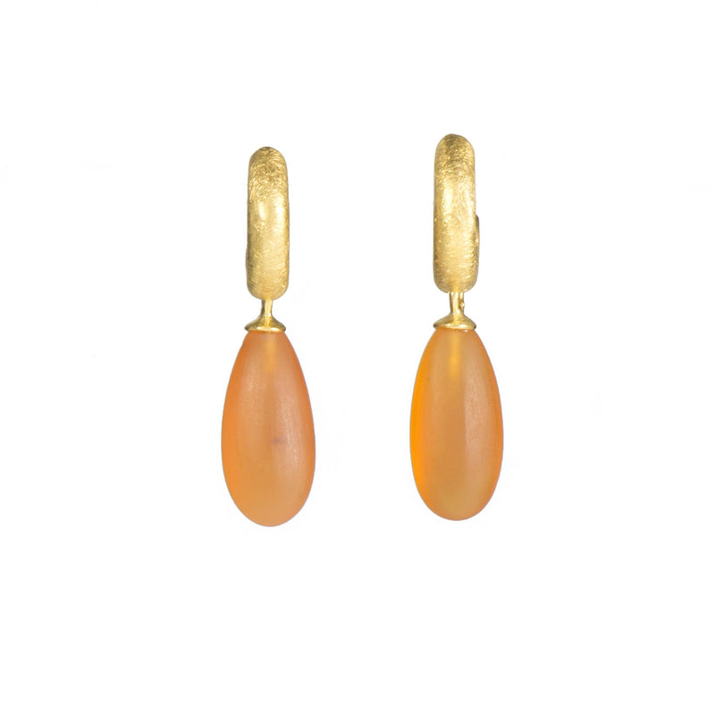C03-0711M EARRINGS- HUGGIE MATTE CARNELIAN DROP FAIR TRADE 24K GOLD VERMEIL