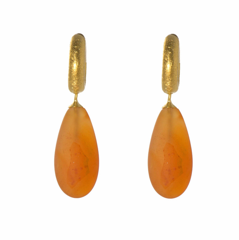 C03-0712M EARRINGS- MATTE CARNELIAN FAIR TRADE 24K GOLD VERMEIL
