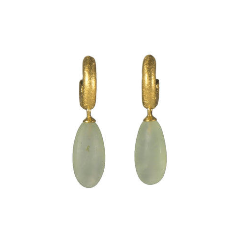 HUGGIE HOOP EARRINGS WITH A MATTE PREHNITE DROP FAIR TRADE 24K GOLD VERMEIL - Joyla Jewelry