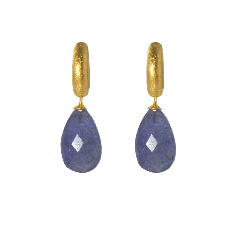 C03-171 EARRINGS- HUGGIE  FACETED TANZANITE DROP FAIR TRADE 24K GOLD VERMEIL