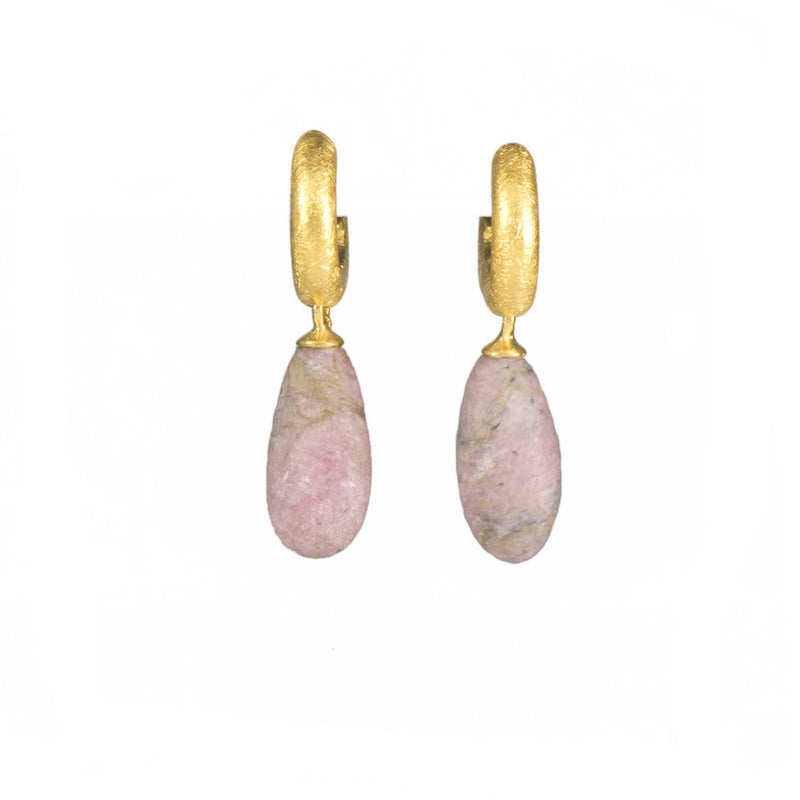 C03-298M EARRINGS- HUGGIE  MATTE RHODONITE DROP FAIR TRADE 24K GOLD VERMEIL