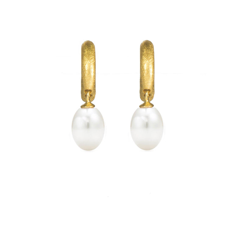 C03-P01 EARRINGS- HUGGIE PEARL DROP FAIR TRADE 24K GOLD VERMEIL
