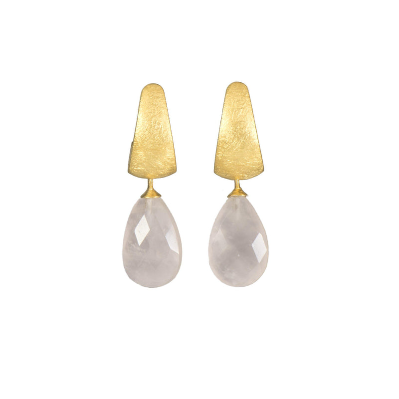 C06-051 EARRINGS- HUGGIE FACETED ROSE QUARTZ DROP FAIR TRADE 24K GOLD VERMEIL