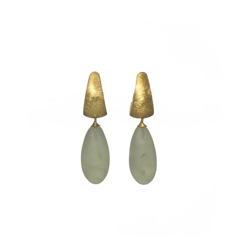 HUGGIE EARRINGS WITH A MATTE PREHNITE DROP FAIR TRADE 24K GOLD VERMEIL - Joyla Jewelry