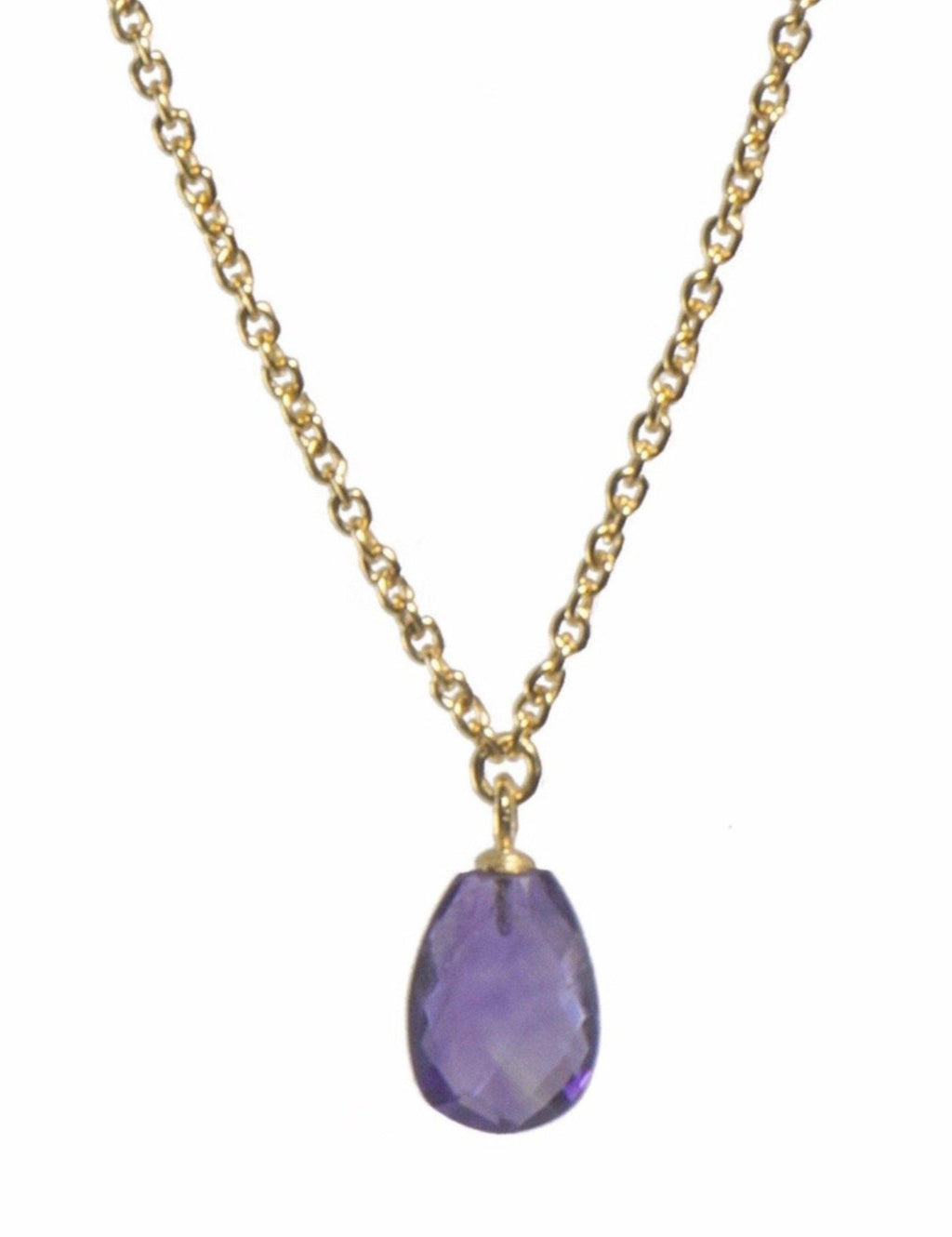 CH1601-040 NECKLACE- 17'' FACETED AMETHYST PENDANT FAIR TRADE 24K GOLD VERMEIL