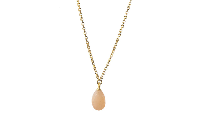 FACETED PEACH MOONSTONE DROP NECKLACE FAIR TRADE 24K GOLD VERMEIL - Joyla Jewelry