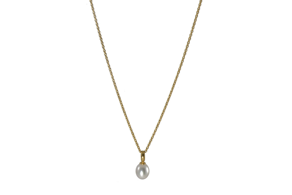 WHITE PEARL DROP NECKLACE FAIR TRADE 24K GOLD VERMEIL