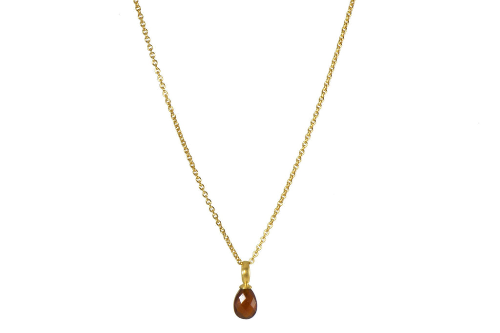 FACETED GARNET DROP NECKLACE FAIR TRADE 24K GOLD VERMEIL