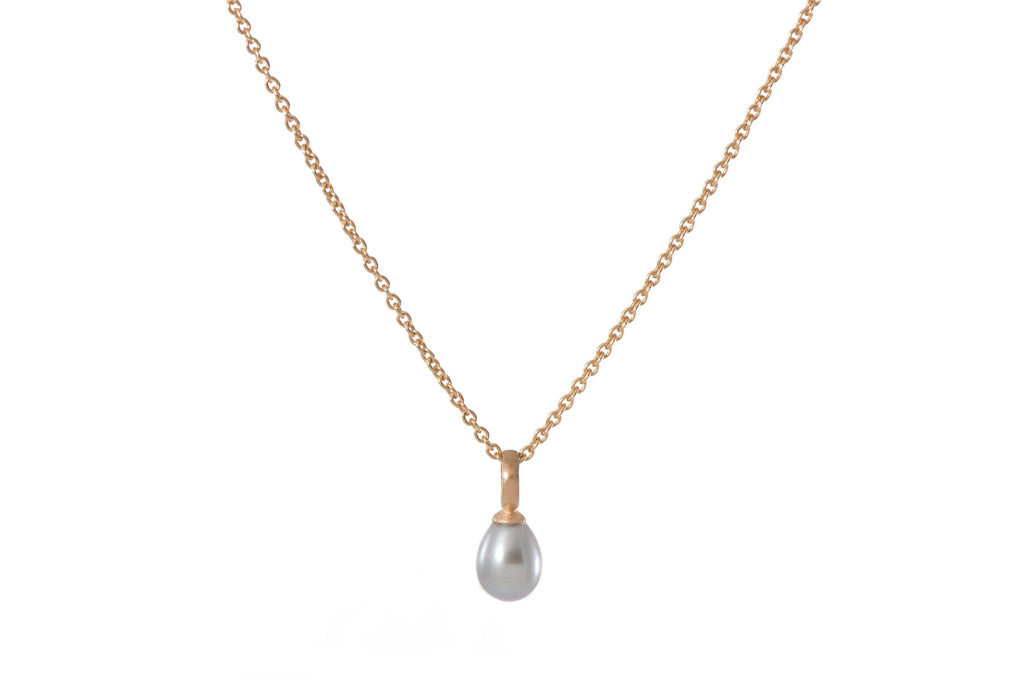 GREY PEARL DROP NECKLACE FAIR TRADE 24K GOLD VERMEIL