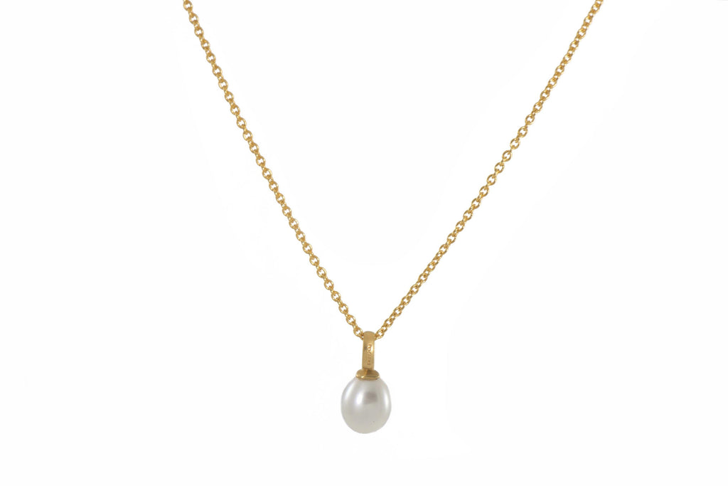 "CH16021-P01 NECKLACE- 28"" WHITE PEARL PENDANT FAIR TRADE 24K GOLD VERMEIL"