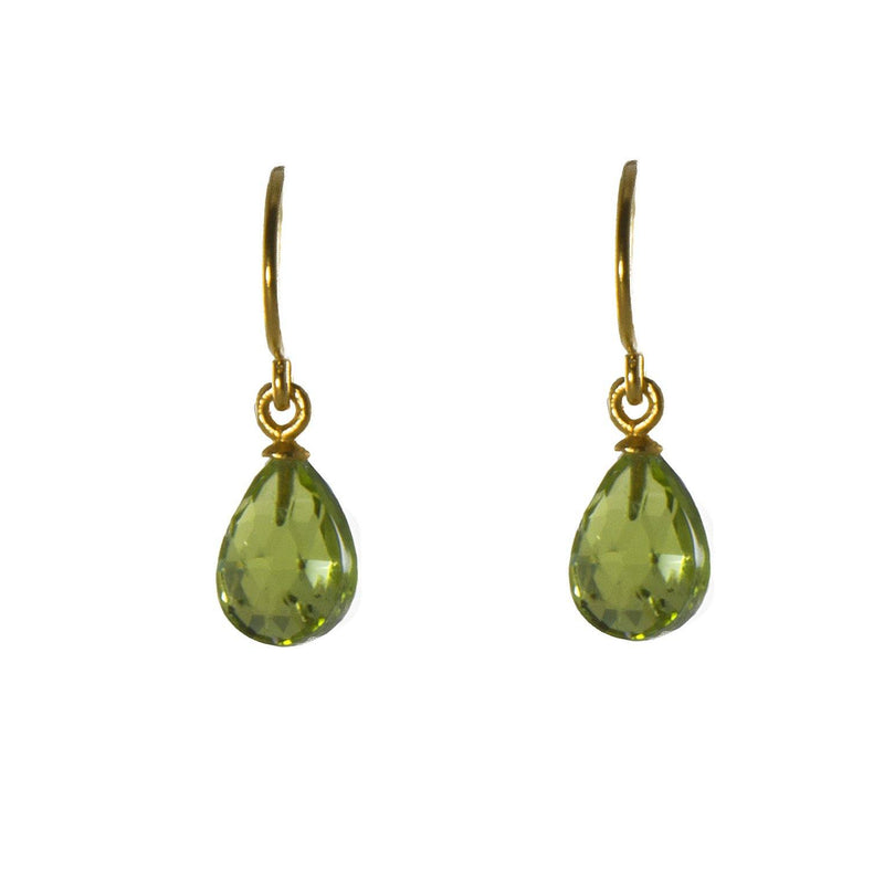 E01-010 EARRINGS- FACETED PERIDOT FAIR TRADE 24K GOLD VERMEIL