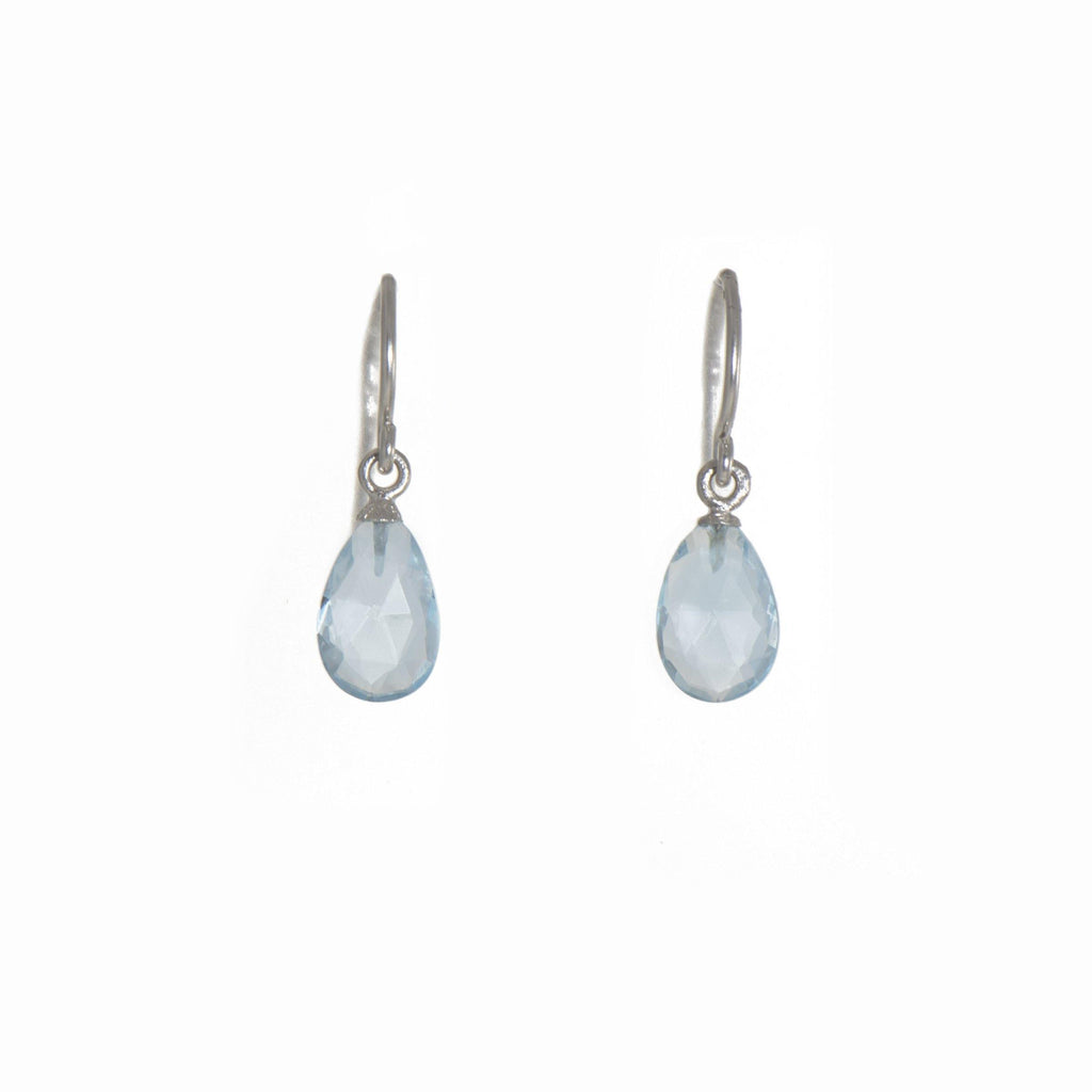 E01-020 EARRINGS- FACETED BLUE TOPAZ FAIR TRADE 24K GOLD VERMEIL