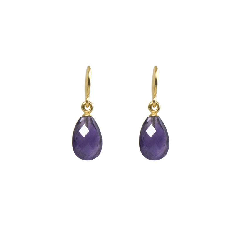 FACETED AMETHYST FRENCH WIRE EARRINGS FAIR TRADE 24K GOLD VERMEIL - Joyla Jewelry