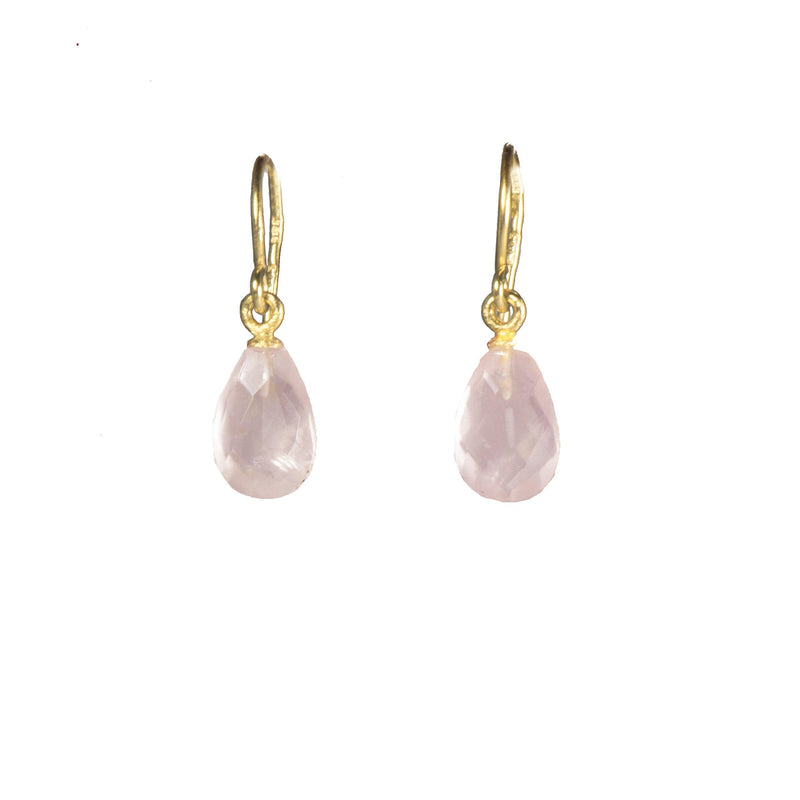 FACETED ROSE QUARTZ FRENCH WIRE EARRINGS FAIR TRADE 24K GOLD VERMEIL