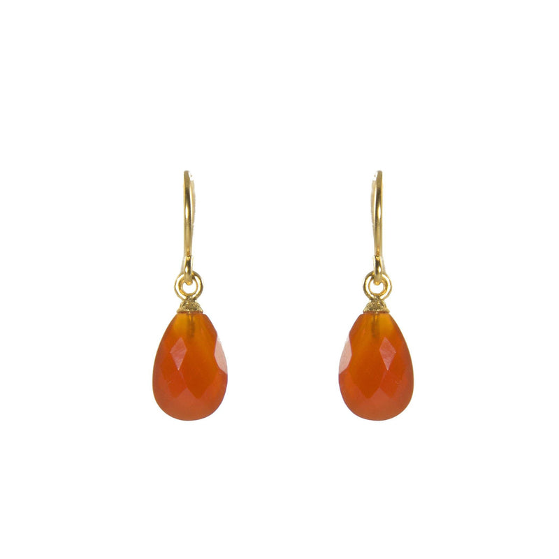 E01-070 EARRINGS- FACETED CARNELIAN FAIR TRADE 24K GOLD VERMEIL