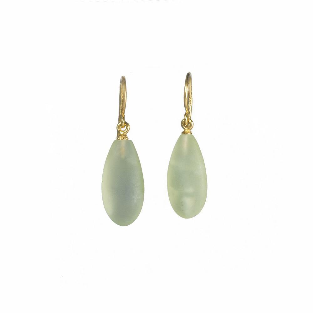 E01-089M EARRINGS- MATTE PREHNITE WIRE FAIR TRADE 24K GOLD VERMEIL