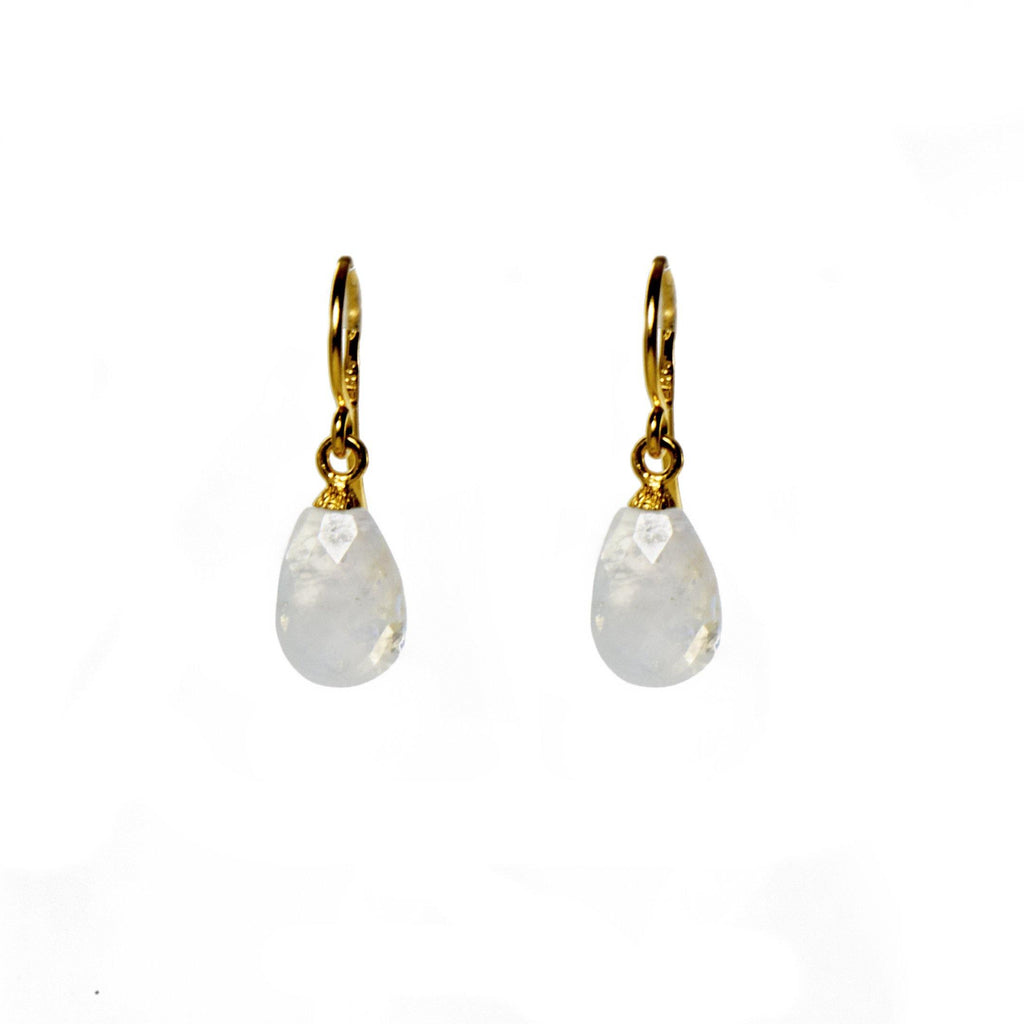 E01-100 EARRINGS- FACETED RAINBOW MOONSTONE FAIR TRADE 24K GOLD VERMEIL