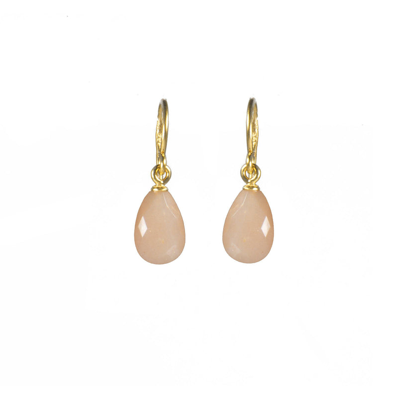E01-150 EARRINGS- FACETED PEACH MOONSTONE FAIR TRADE 24K GOLD VERMEIL