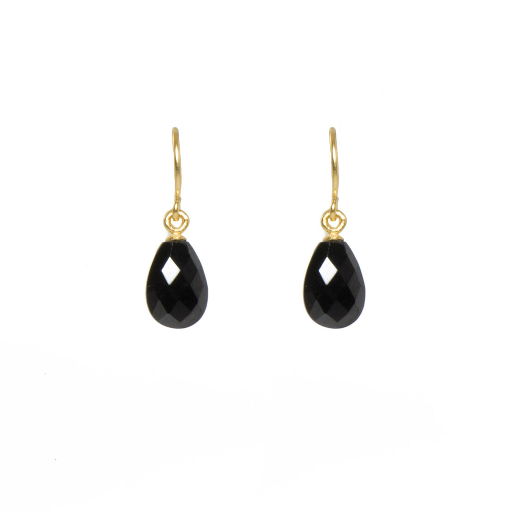 E01-290 EARRINGS- FACETED BLACK SPINEL FAIR TRADE 24K GOLD VERMEIL