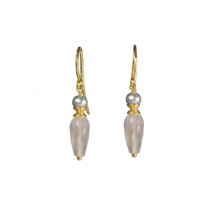 E011-05 EARRINGS- GREY PEARL & FACETED  ROSE QUARTZ DROP FAIR TRADE 24K GOLD VERMEIL