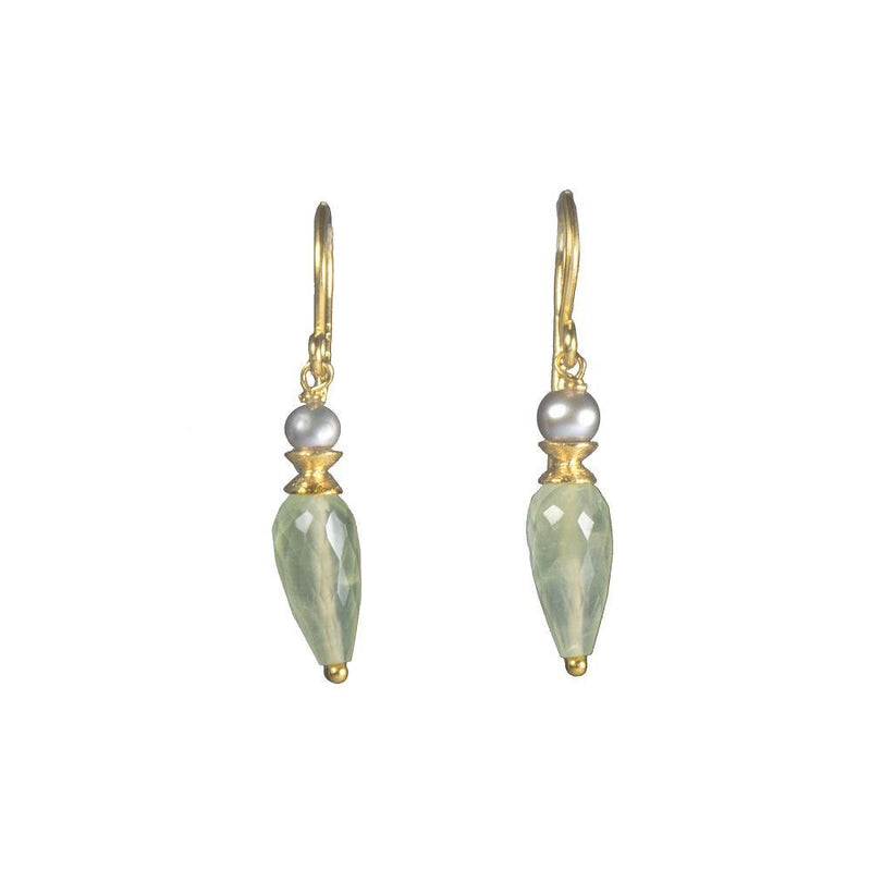 E011-08 EARRINGS- GREY PEARL & FACETED PREHNITE DROP FAIR TRADE 24K GOLD VERMEIL