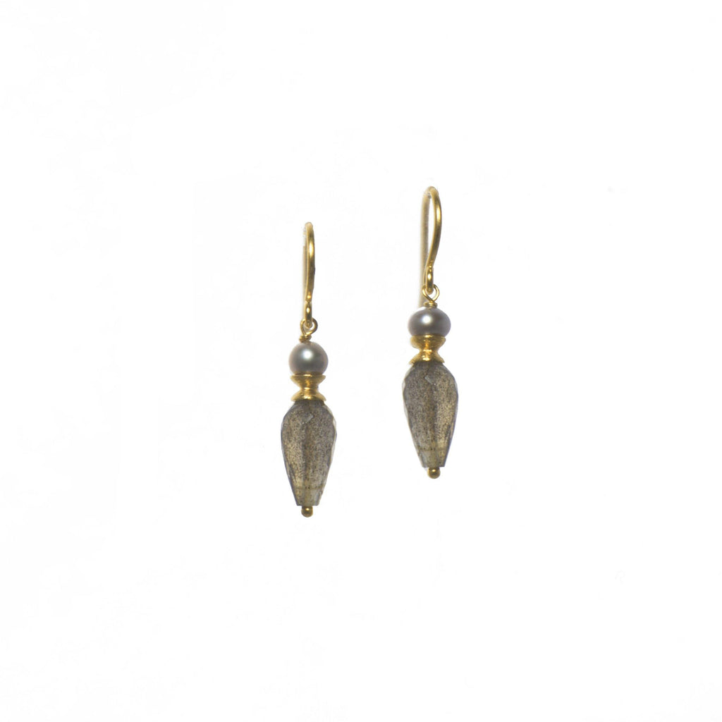 GREY PEARL & FACETED LABRADORITE DROP(E011-09)