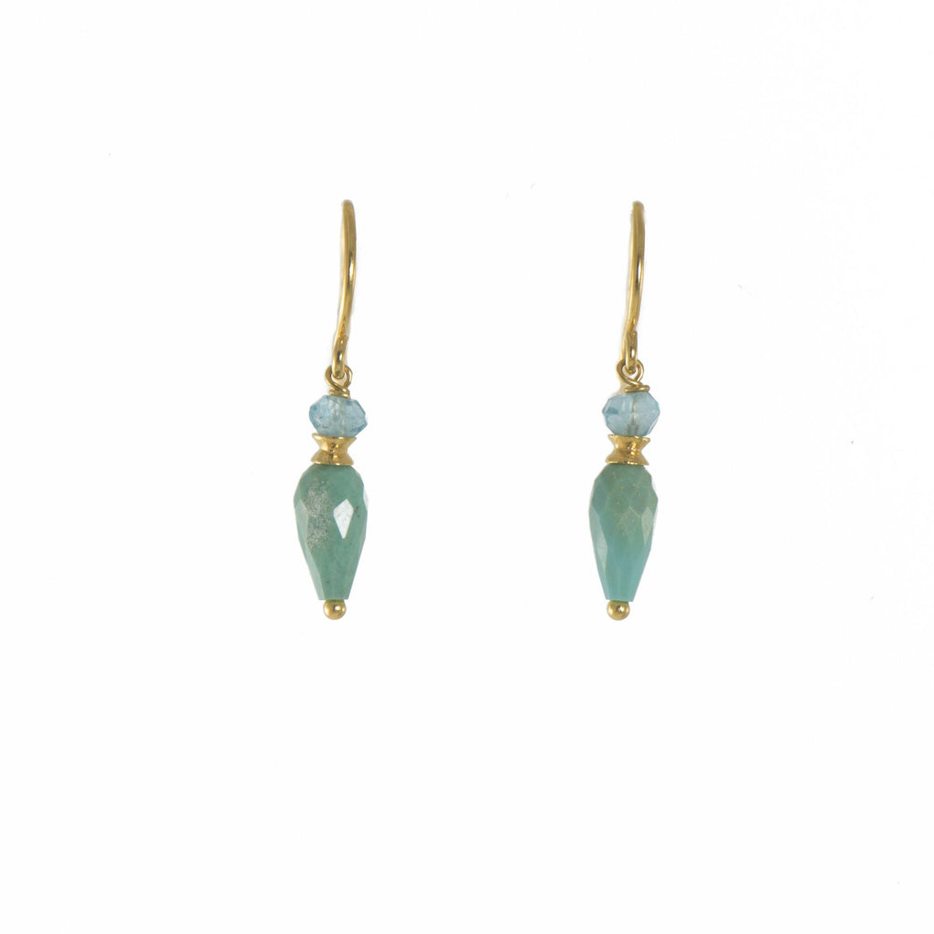 FACETED APATITE AND TURQUOISE FRENCH WIRE EARRINGS FAIR TRADE 24K GOLD VERMEIL
