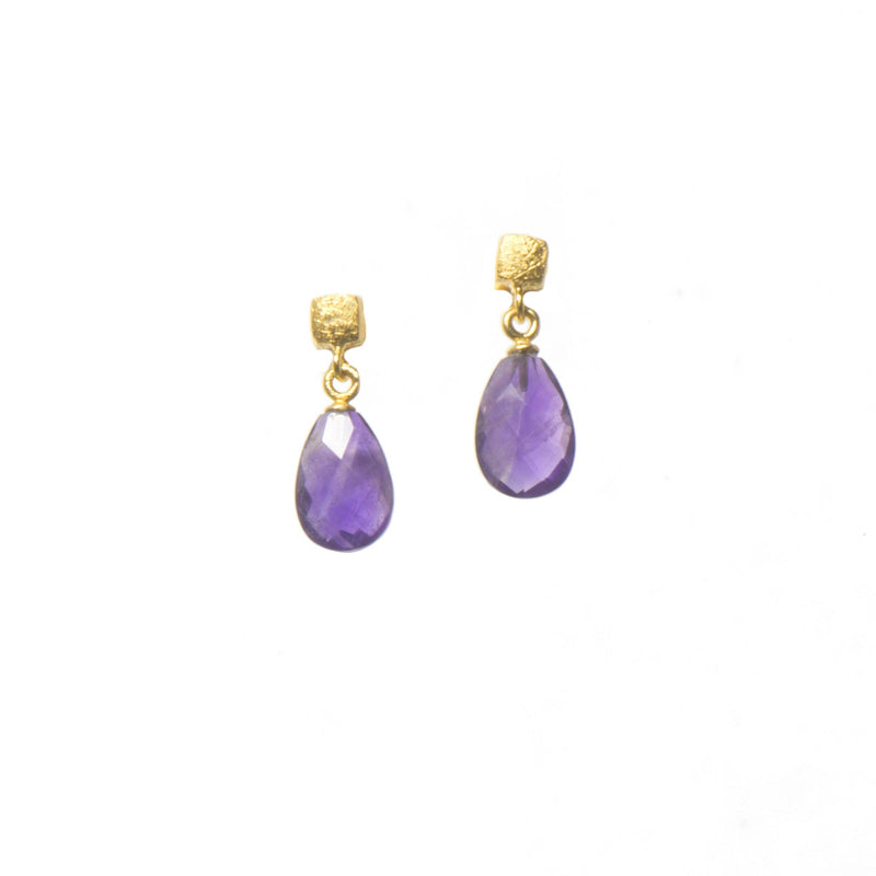 CUBE FACETED AMETHYST 24K GOLD VERMEIL  (E021-040)