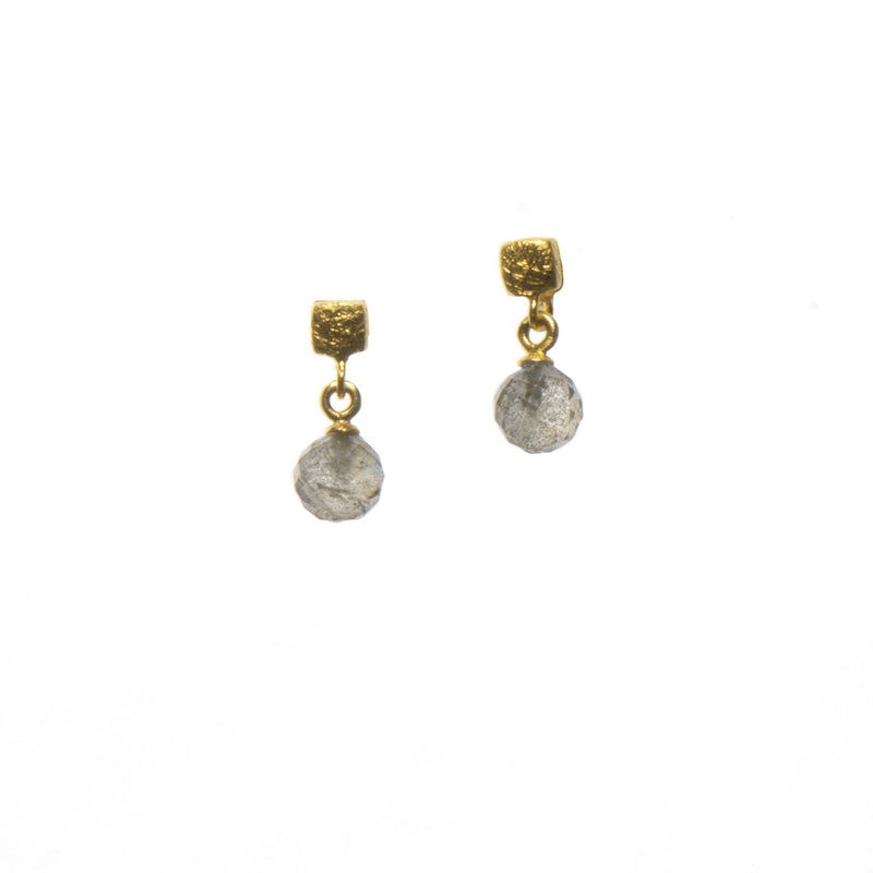 CUBE FACETED EARRINGS ROUND LABRADORITE FAIR TRADE 24K GOLD VERMEIL