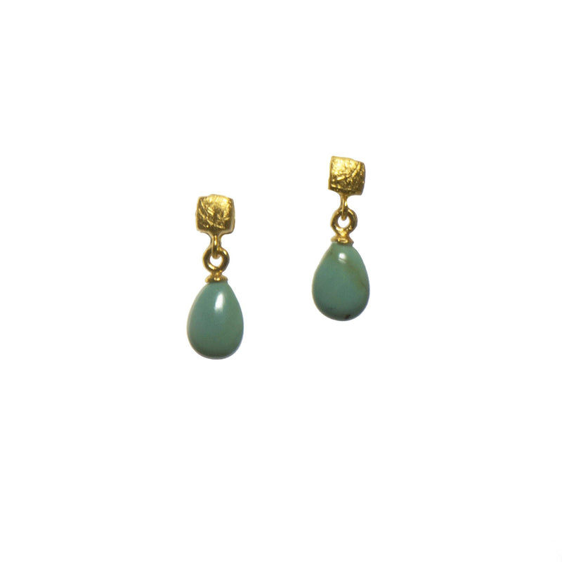 E021-1810 EARRINGS- CUBE POLISHED TURQUOISE FAIR TRADE 24K GOLD VERMEIL