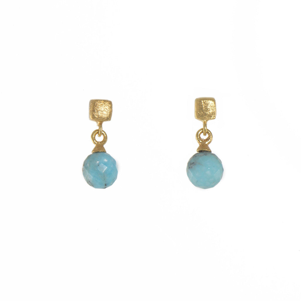 CUBE ROUND FACETED TURQUOISE EARRINGS FAIR TRADE GOLD VERMEIL